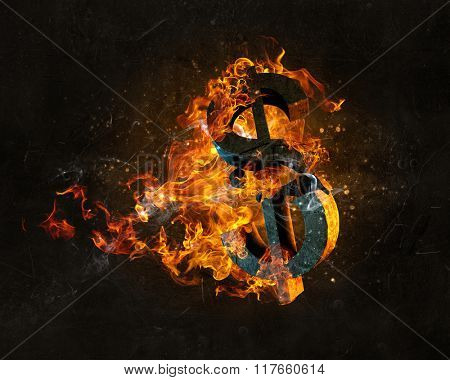 Dollar symbol in fire