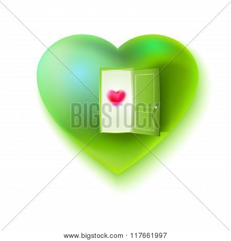 Vector green heart open for love
