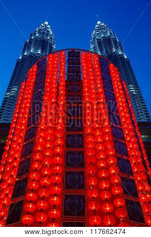 Lunar New Year Decoration In Front Of The Petronas Twin Towers
