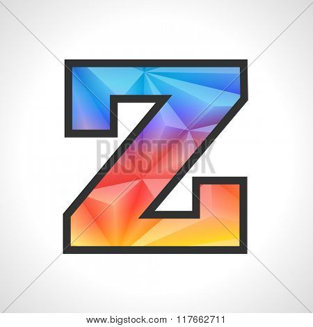Vector Geometric Gradient Design Triangular Polygonal Font. Children style Letter Z