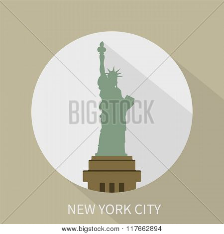 Statue Of Liberty In New York. Vector Icon.