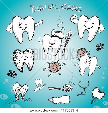 Dental set - tooth past, tooth brush and dental implant