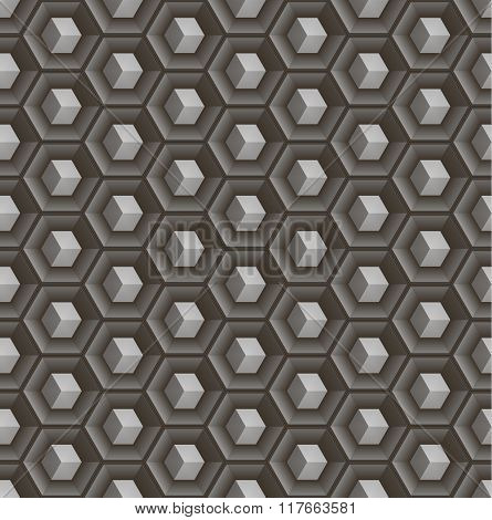 Seamless abstract 3D pattern - cubes in hex concave cells.