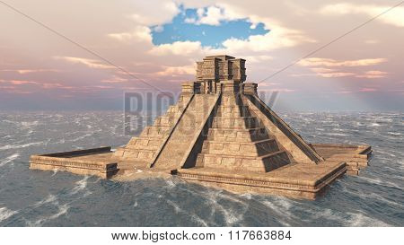 Mayan temple in the ocean