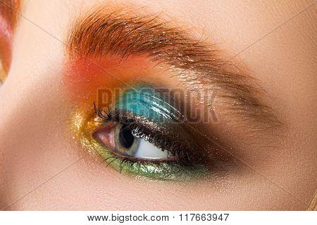 Close-up View Of Women Eye With Beautiful Modern Make-up