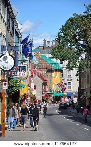 Colorful Houses on Rue Saint Louis, Quebec City