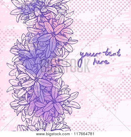 Pink And Lilac Floral Grunge Background With Place For Text.eps