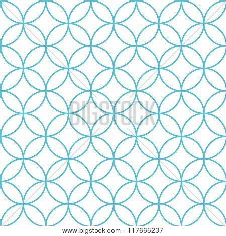 Seamless Abstract Intersecting And Repeating Modern Blue Circles