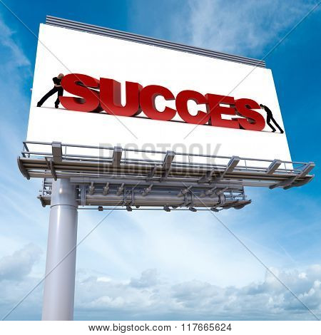 3D rendering of an advertisement billboard with the word success