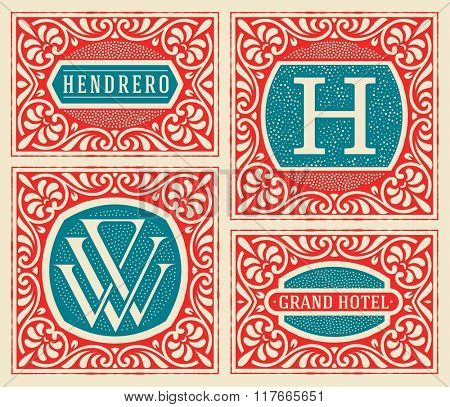 Vintage logo template, Hotel, Restaurant, Business or Boutique Identity. Retro cards set. Vector