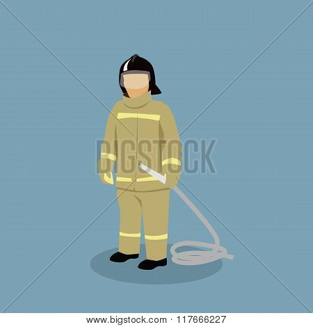Profession Icon Firefighter Design Flat Style