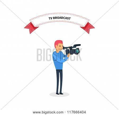 TV Broadcast Man Operator Design Flat