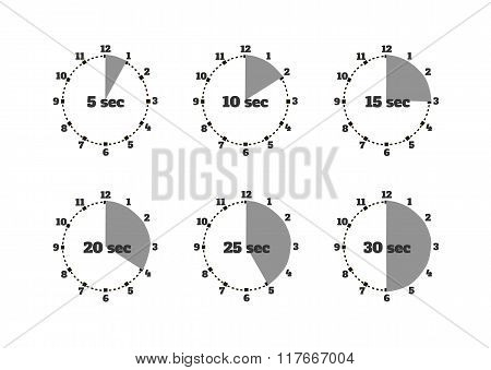 Set of Time Second Stopwatch Design Flat