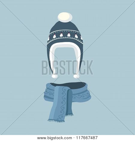 Striped Scarf Isolated Winter Hat