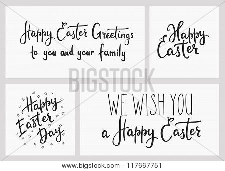 Happy Easter Day Simple Lettering Set