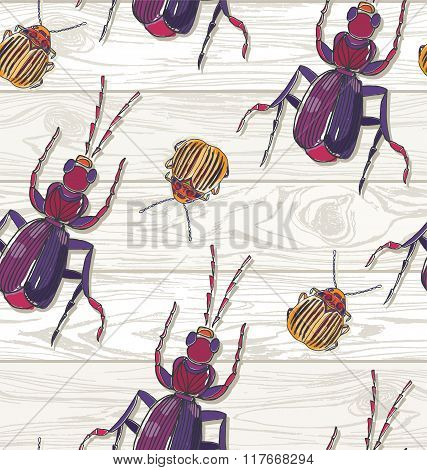 Hand Drawn Beetles On Wooden Background. Seamless Pattern.