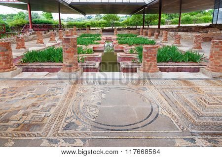 Roman Domus of Fountains. View of the interior garden, peristyle, and pond with very ornate mosaics. Conimbriga in Portugal, is one of the best preserved Roman cities on the west of the empire.