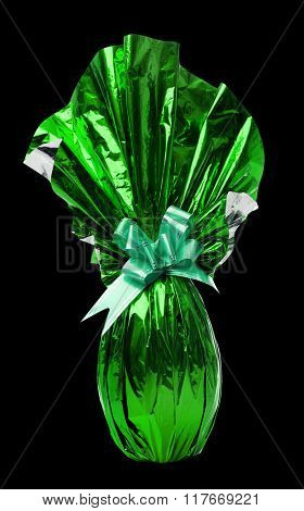Brazilian Easters Egg in green isolated on a black background