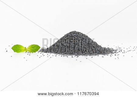 pile of poppy seeds on white background