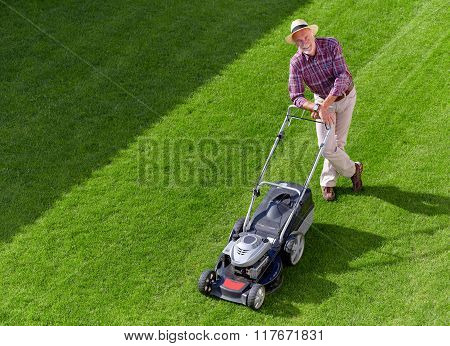 Mowing Senior Man, Take A Break