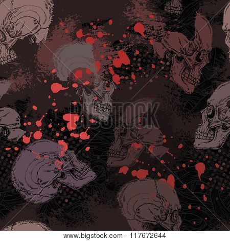 Seamless Grunge Gothic Horror Pattern With Skulls And Red Blots In Black And Grey Color.eps