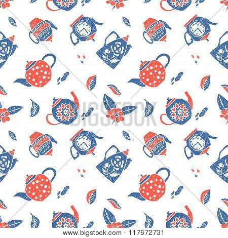 Seamless pattern in naive lino style, teapots