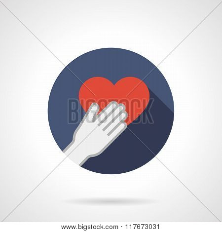 Give heart colorful round flat vector icon