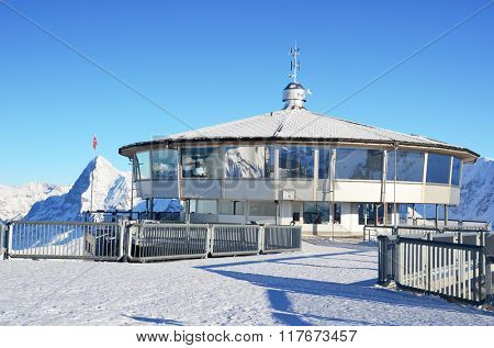 Famous revolving restaurant on the top of Schilthorn mountain, Switzerland