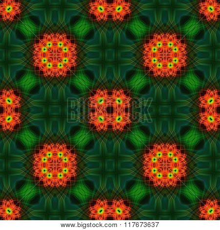 Abstract Green Checked Pattern With Orange Floral Fractal Texture. Oriental Silk Fabric.