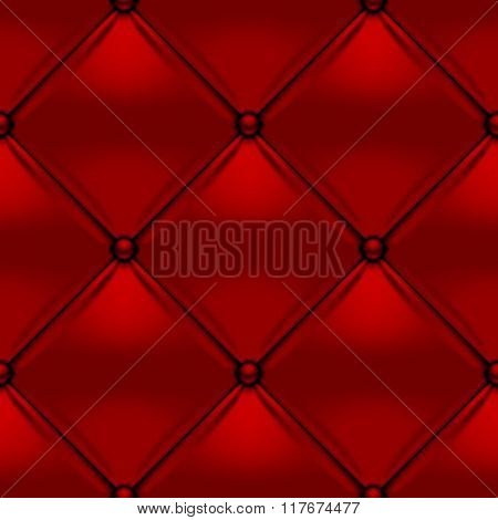 Red button-tufted leather background. Red upholstery seamless pattern. Vector illustration.