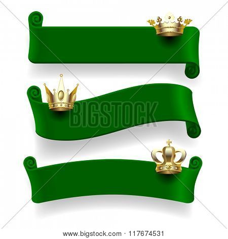 Set of green ribbons with gold crowns isolated on white background. Vector illustration