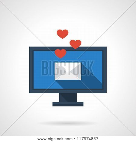 Distance love flat color vector icon