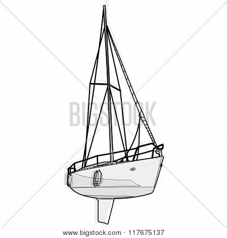 Nice black and white wire boat on white, nice illustration of yacht ship.