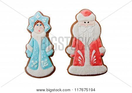 Christmas Characters Cookies Ded Moroz Father Frost, Snegurochka Snow Maiden