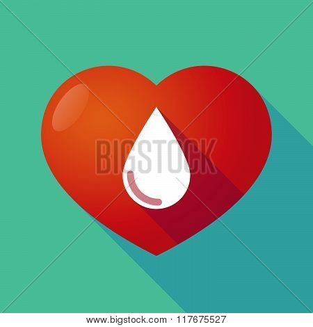 Long Shadow Red Heart With  A Blood Drop