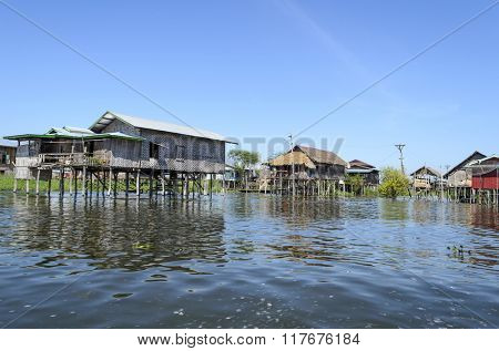 A house on bamboo stilts in Inle Lake, Burma (Myanmar).