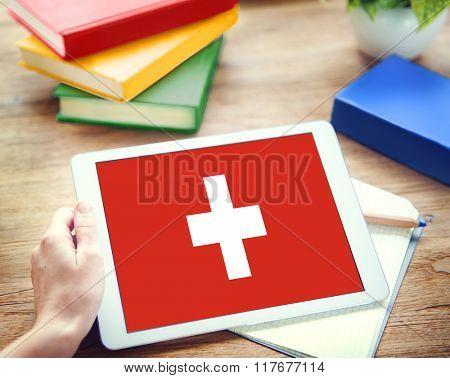 Browsing Network Internet Switzerland Flag Concept