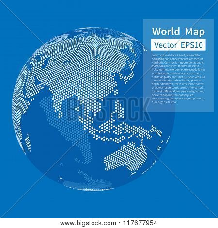 Dotted World Map Background. Earth Globe. Globalization Concept.