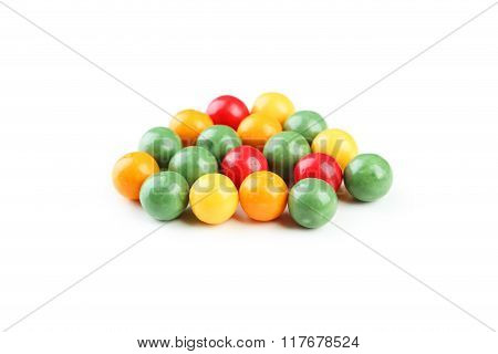 Colorful Chewing Gums Isolated On White