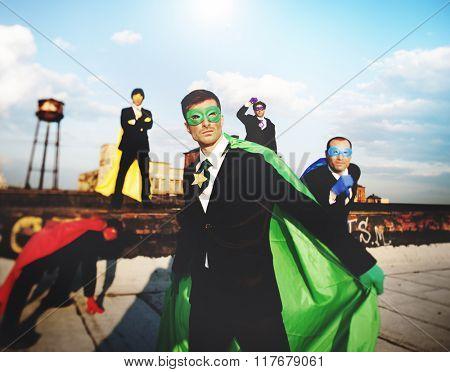 Superhero Business People Corporate Team Skyline Concept