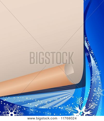 White paper on a Christmas background