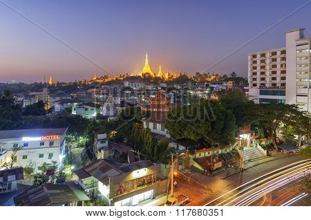 Yangon, Myanmar - December 29 : View Of  Shwedagon Pagoda At Twilight On December, 2015, Yangon, Mya