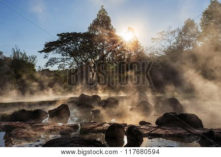 Hot Spring At National Park During Sunrise, Thailand