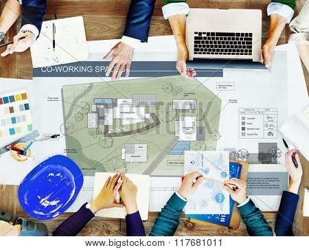 Co Working Space Architecture Plan Map Blueprint Design Concept