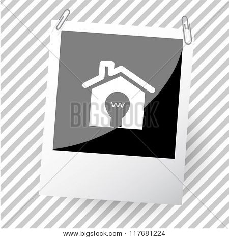 light in home. Photo frame. Raster icon.
