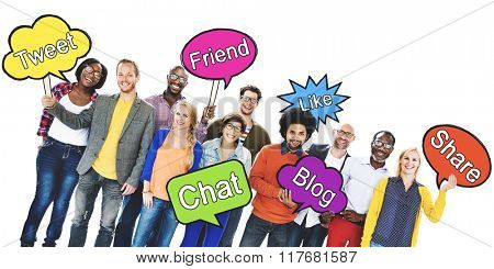 Social Media Network People Holding Speech Bubbles Concept
