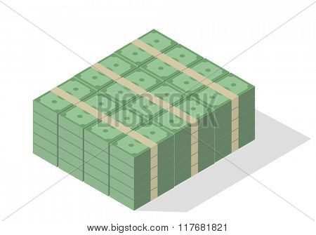 minimalistic illustration of a pile of green banknotes, eps10 vector
