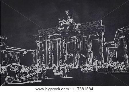 Brandenburg Gate (brandenburger Tor) Sketch , Drawing On Chalkboard