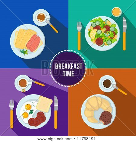 Breakfast Vector Set. Scrambled Eggs With Bacon, Croissant And Biscuits, Toast And Fresh Salad.