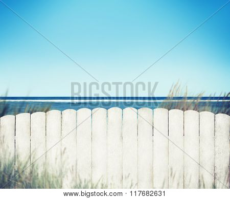 White Fence with Blue Sky Plank Copy Space Concept